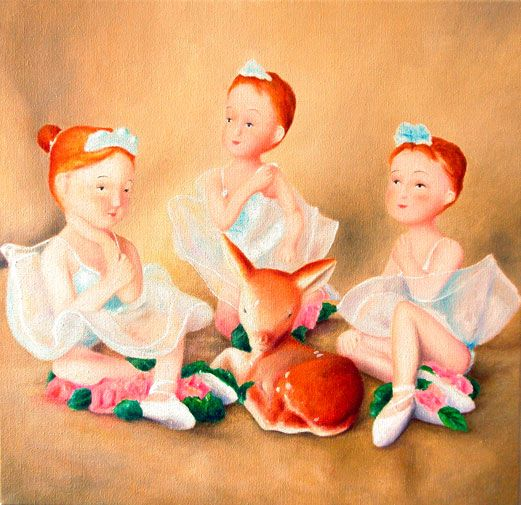 Tre-bambole e un cerbiatto