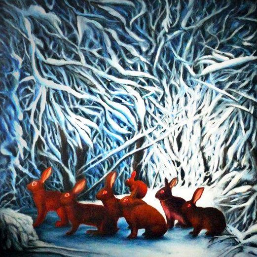 Sette conigli sulla neve