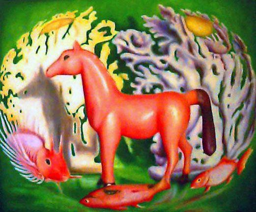 Pesci rossi e cavallino